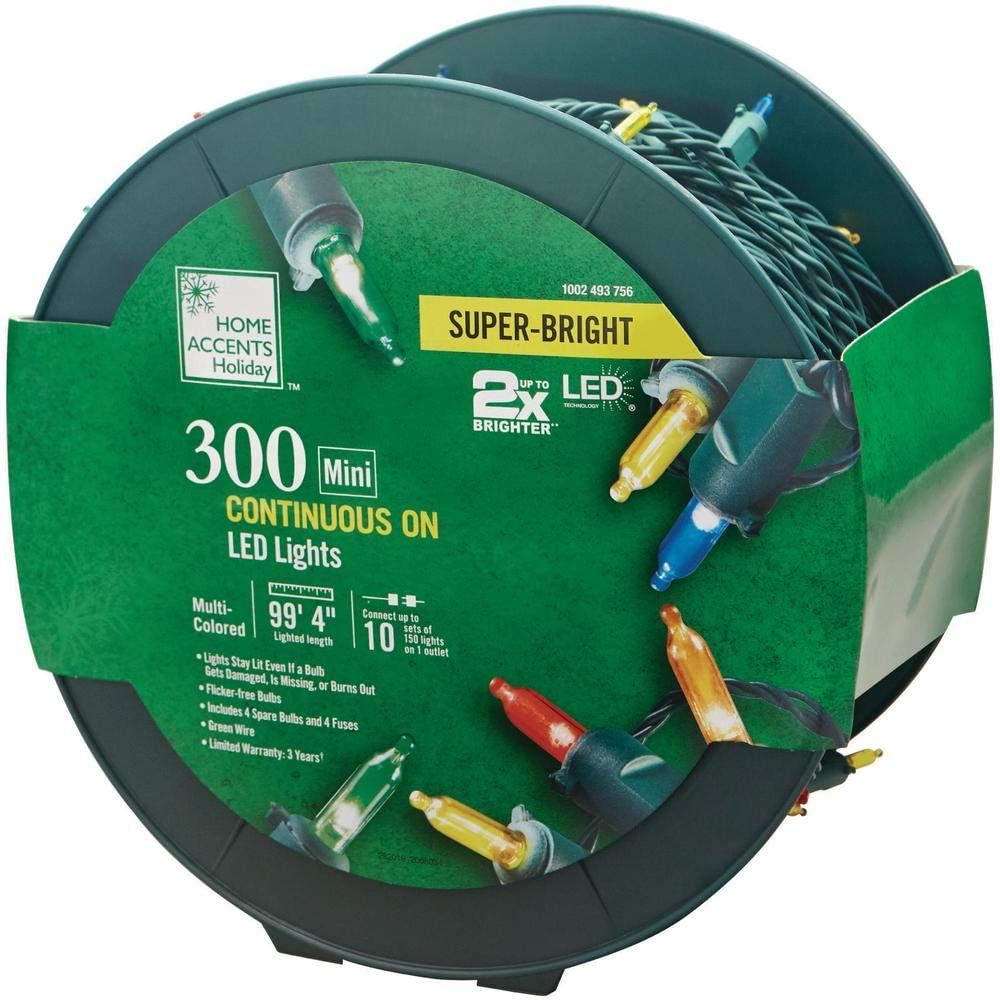 Home Accents Holiday 300-Light LED Smooth Mini Super Bright Multi-Reel TY560-1715-1M