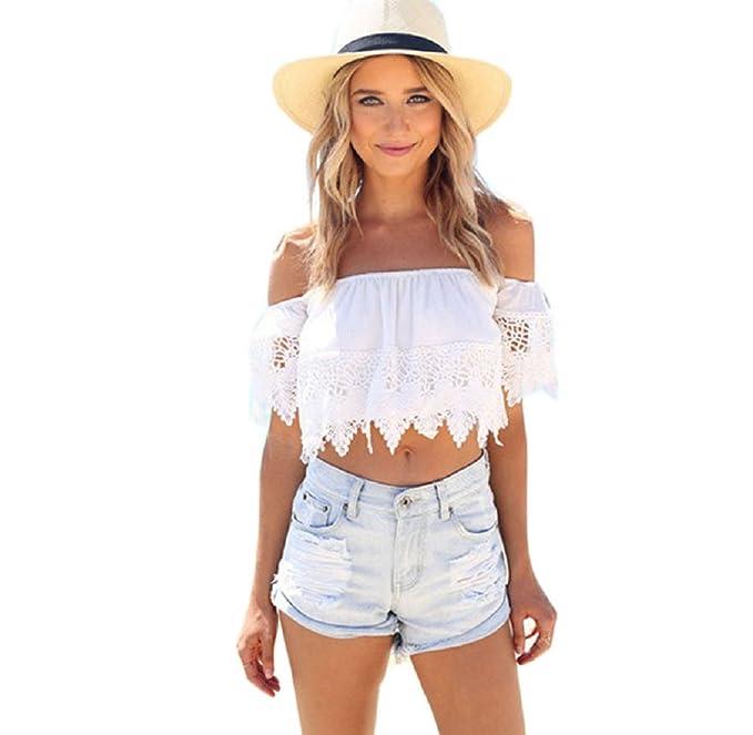 Ularma Moda Moda Mujer Boho Encaje Blanco Blusa de Hombro Cultivo Camisa Tapas (S,