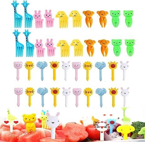 Gdaya 56Pcs Food Fruit Fork Picks for Kids Cute Animals Bento Box Decor ForksCak