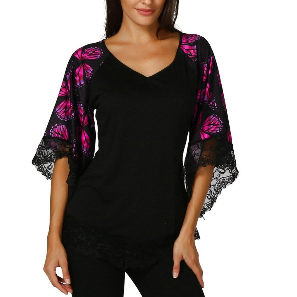 FNKDOR Summer Womens Ladies Evening Party Beautiful Elegant Butterfly Raglan Sleeve T-Shirt with Lace Trim Top Blouse