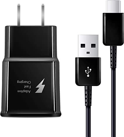 Adaptive Fast Wall Charger Compatible with Samsung Galaxy S10// S10e// S9// S9+// S8// S8 Plus//Active//Note 9// Note 8 and More with 6.6 Feet Type C Cable