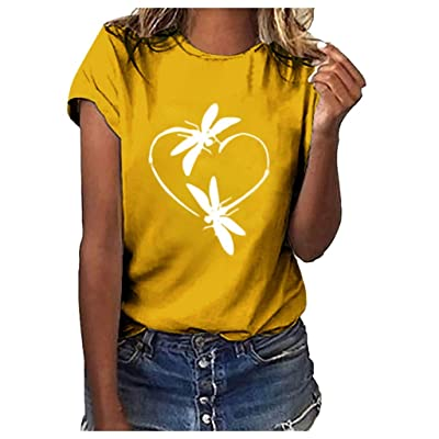 Women's Roll Up Short Sleeve Blouse Dragonfly Print Crew Neck T-Shirt Casual Loose Fit Summer Tee Tops at Women's Clothing store