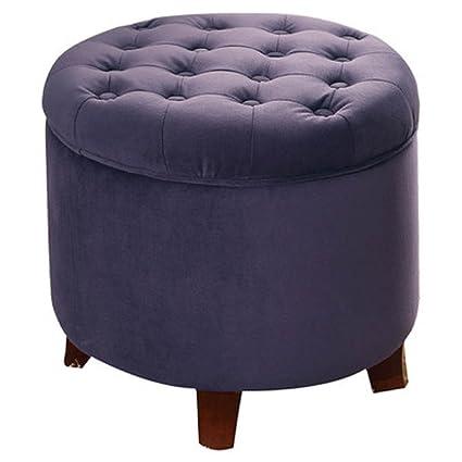 HomePop Upholstered Storage Ottoman, Round Storage Ottoman, Rich Plum  Aubergine