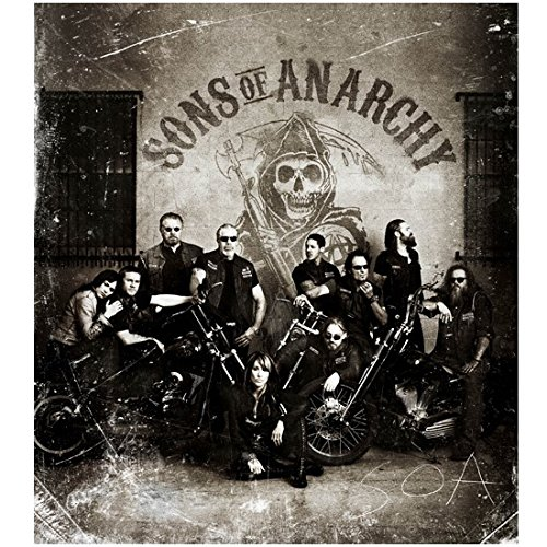 Sons Of Anarchy 8X10 Photo Cast Photo B W Pic In Front Of Wall W Sons Of Anarchy Logo Kn