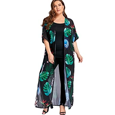 bd5289fe20 Hannea Plus Size Tropical Printed High Slit Maxi Kimono  Amazon.in   Clothing   Accessories