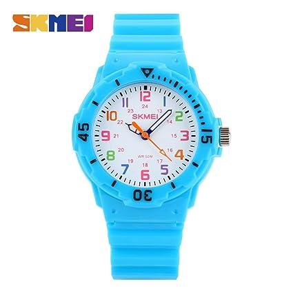 Reloj para niños skmei 1043 reloj analógico de cuarzo resistente al agua hasta 5 bar, reloj para aprender ...