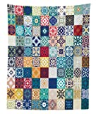 Lunarable Patchwork Tapestry Twin Size, Large Collection of Old Fashioned Cultural Motifs of Lisbon Spain and Tunisia, Wall Hanging Bedspread Bed Cover Wall Decor, 68 W X 88 L Inches, Multicolor