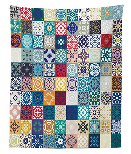 Lunarable Patchwork Tapestry Twin Size, Large Collection of Old Fashioned Cultural Motifs of Lisbon Spain and Tunisia, Wall Hanging Bedspread Bed Cover Wall Decor, 68 W X 88 L Inches, Multicolor by Lunarable