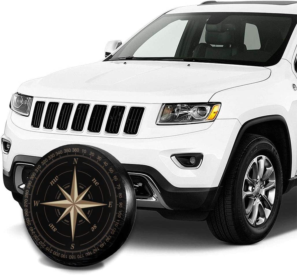 YiiHaanBuy Compass Rose Black Spare Tire Cover Waterproof Dust-Proof Universal Spare Wheel Tire Cover Fit for Jeep,Trailer SUV Truck and Many Vehicle Camper Accessories 16 Inch RV
