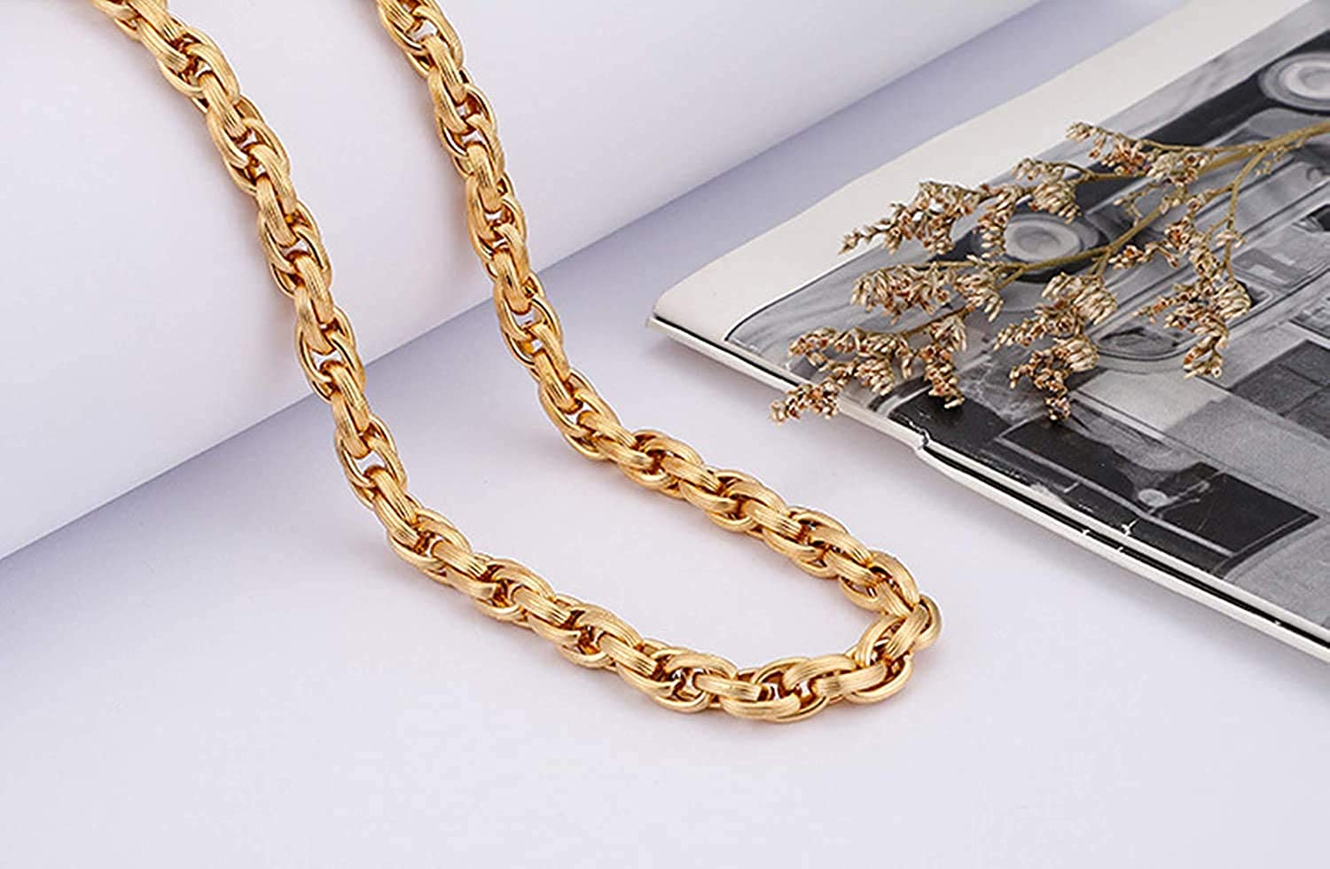 LOPEZ KENT Stainless Steel Necklace Chain for Men Wheat Chain Necklace Black//Silver//Gold//Grey