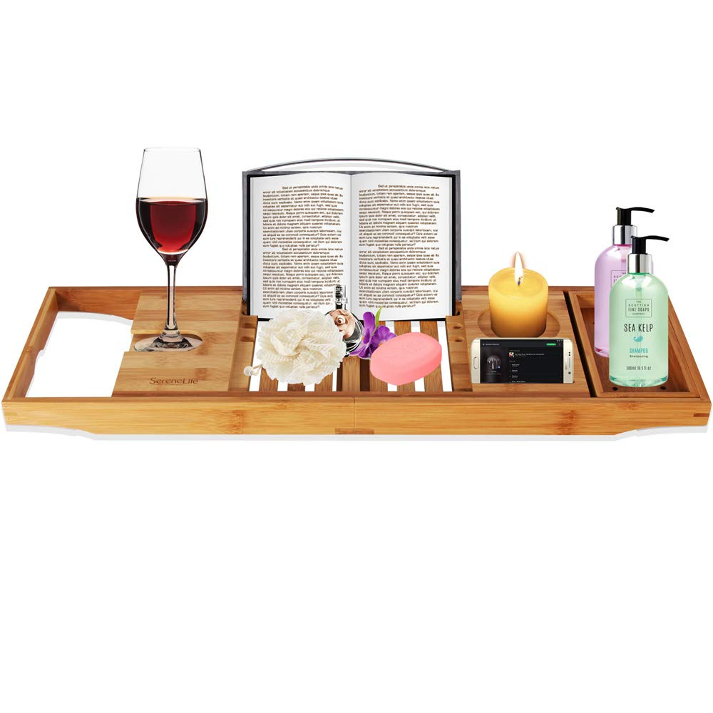 Adjustable Bamboo Bathtub Caddy Tray - Natural Wood Luxury Bath Tub Organizer w/ Wine Holder, Soap Dish, Cup Slot, Book Tablet Holder, and Phone Slot for Spa, Bathroom, Shower - SereneLife