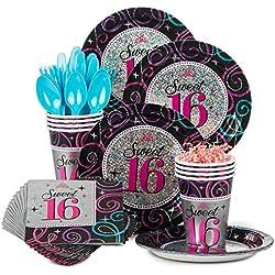 Costume Supercenter BBKIT871 Sweet 16 Birthday Party Standard Tableware Kit
