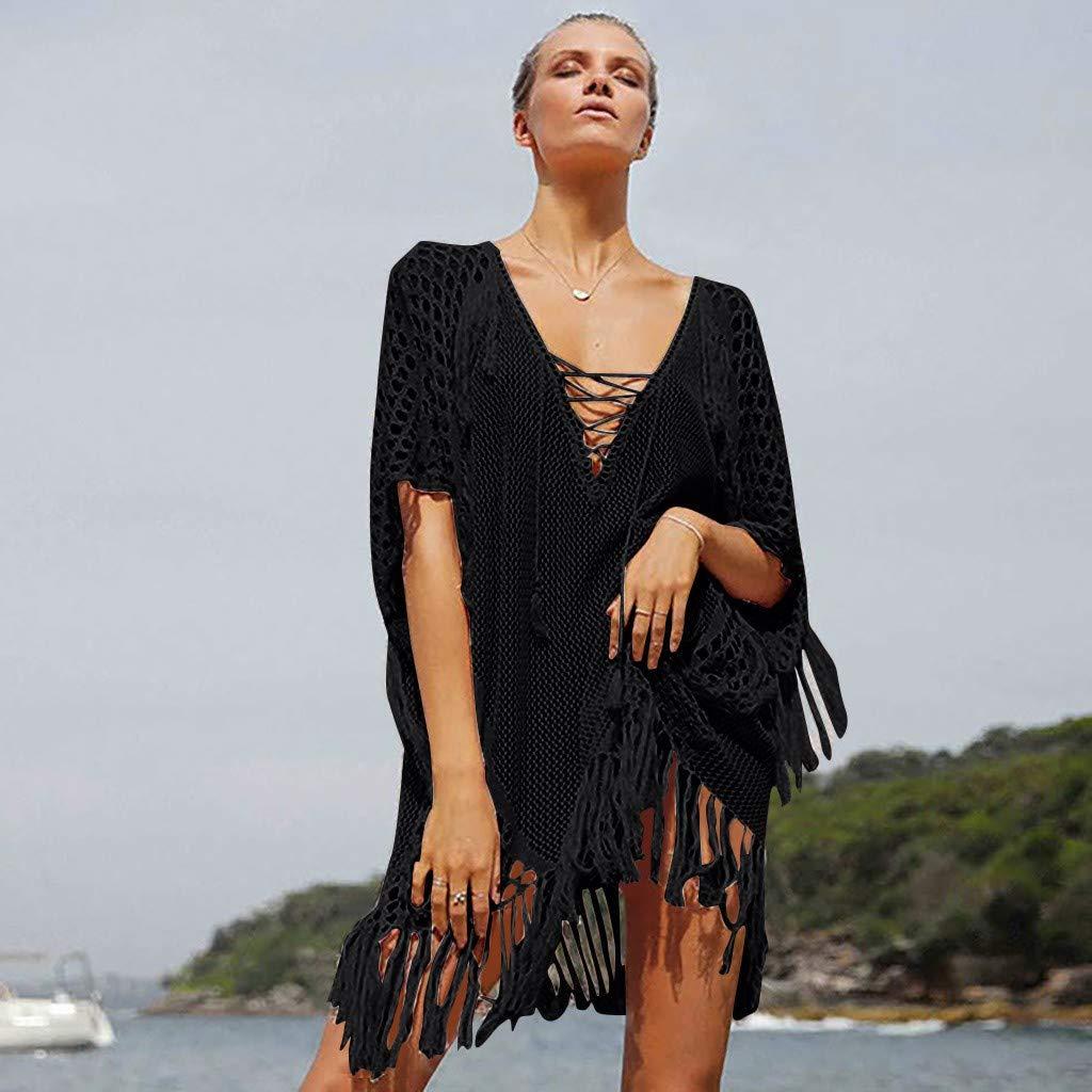 07118dfe73 NAN-21C Women's Handmade Thin Knit Hanging Beach Bikini Blouse Sunscreen  Swimsuit Jacket Black at Amazon Women's Clothing store: