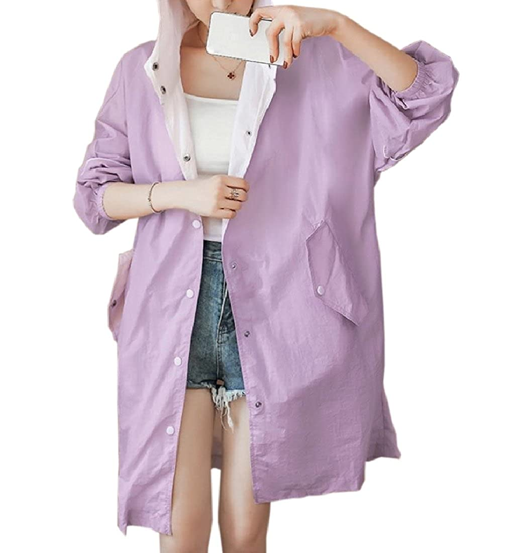 YUNY Women Hooded Printing Floral Longline Outwear Vogue Sunscreen Clothing Purple S