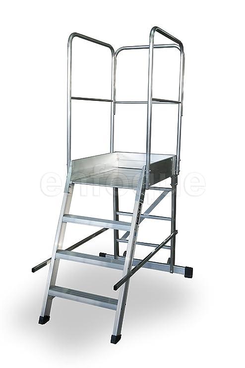 Escalera profesional de aluminio un acceso con plataforma de trabajo 4 peldaños 60x90 serie store 68º