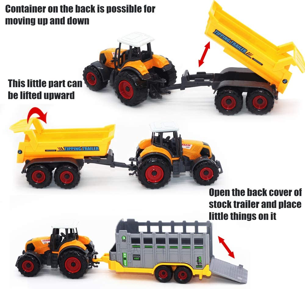 6 Pieces MinYn Farm Tractors Truck and Trailers Set Toy Mini Die-Cast Metal Alloy Farmer Car Vehicle Gifts for Kids Boys Girls Children