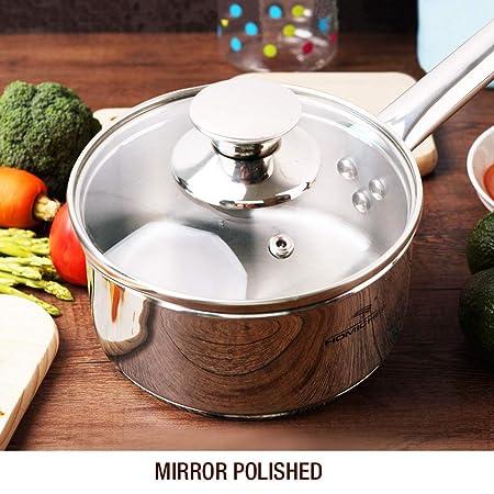 Homi Chef espejo pulido acero inoxidable sin níquel 1 Qt (Quart cazo ...