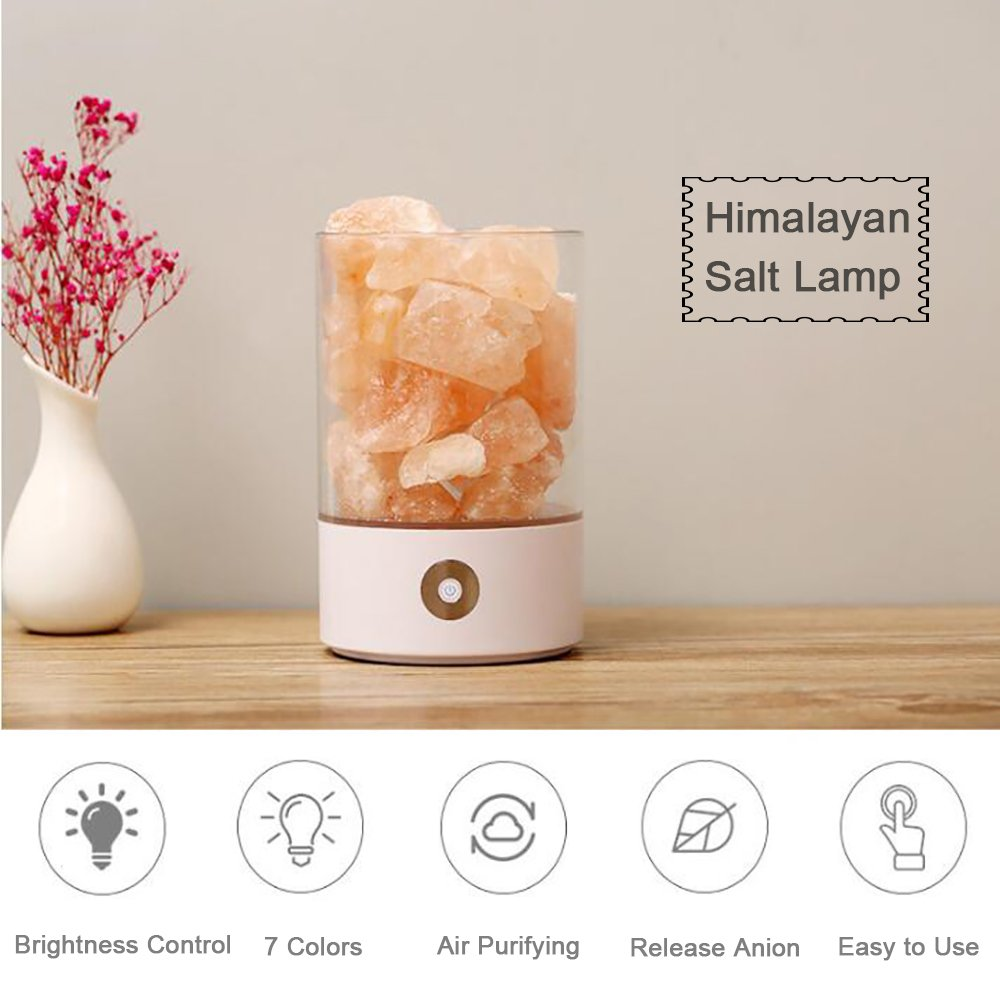 Denshine Himalayan Salt Lamp Salt Lamp with Dimmer Switch 7 Colorful Night Light Air Purifying Ionic Natural Salt Crystal Lamp Night Light for Kids (White)