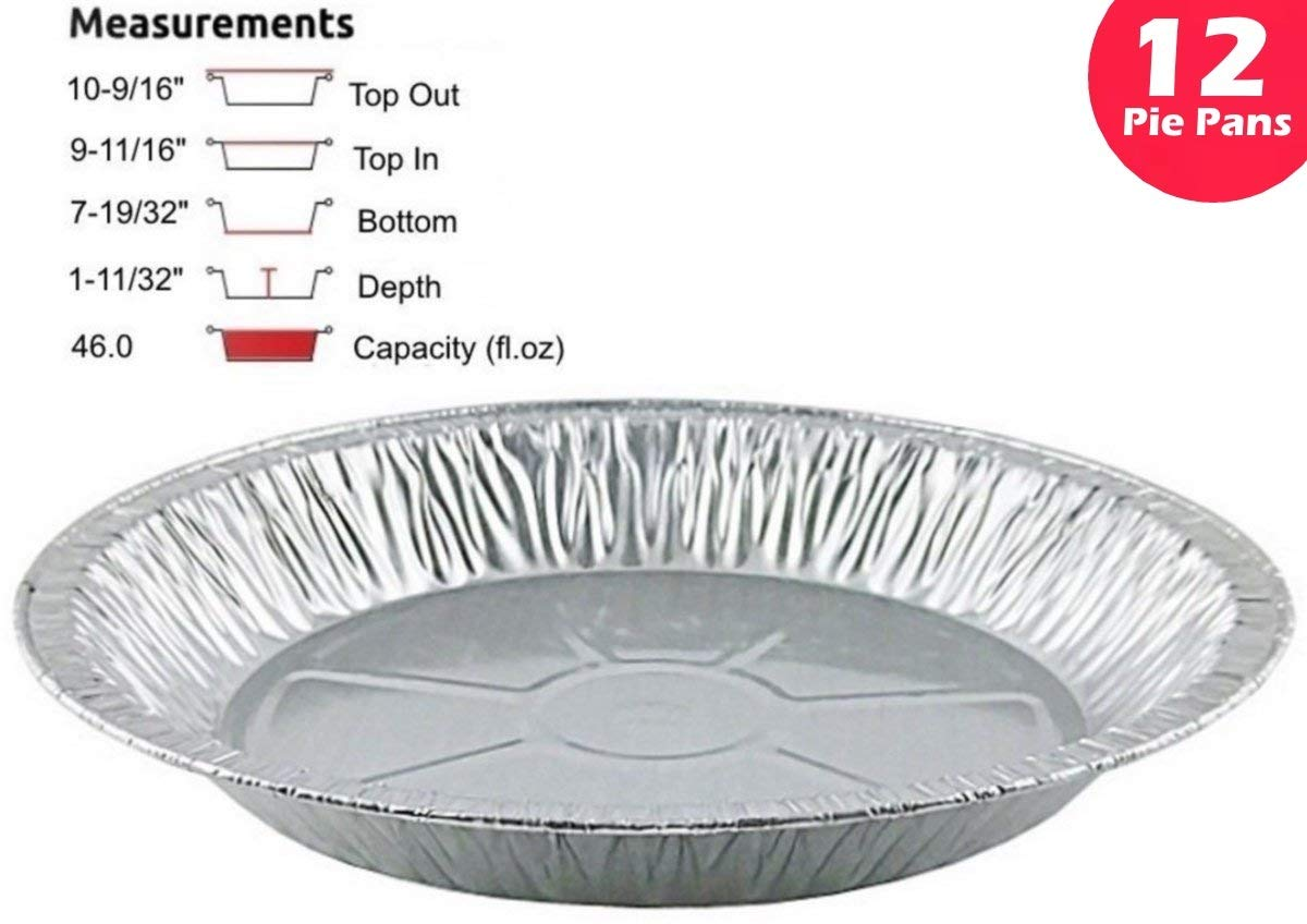 Pactogo 11'' Aluminum Foil Pie Pan Extra-Deep Disposable Tin Plates (Pack of 12)