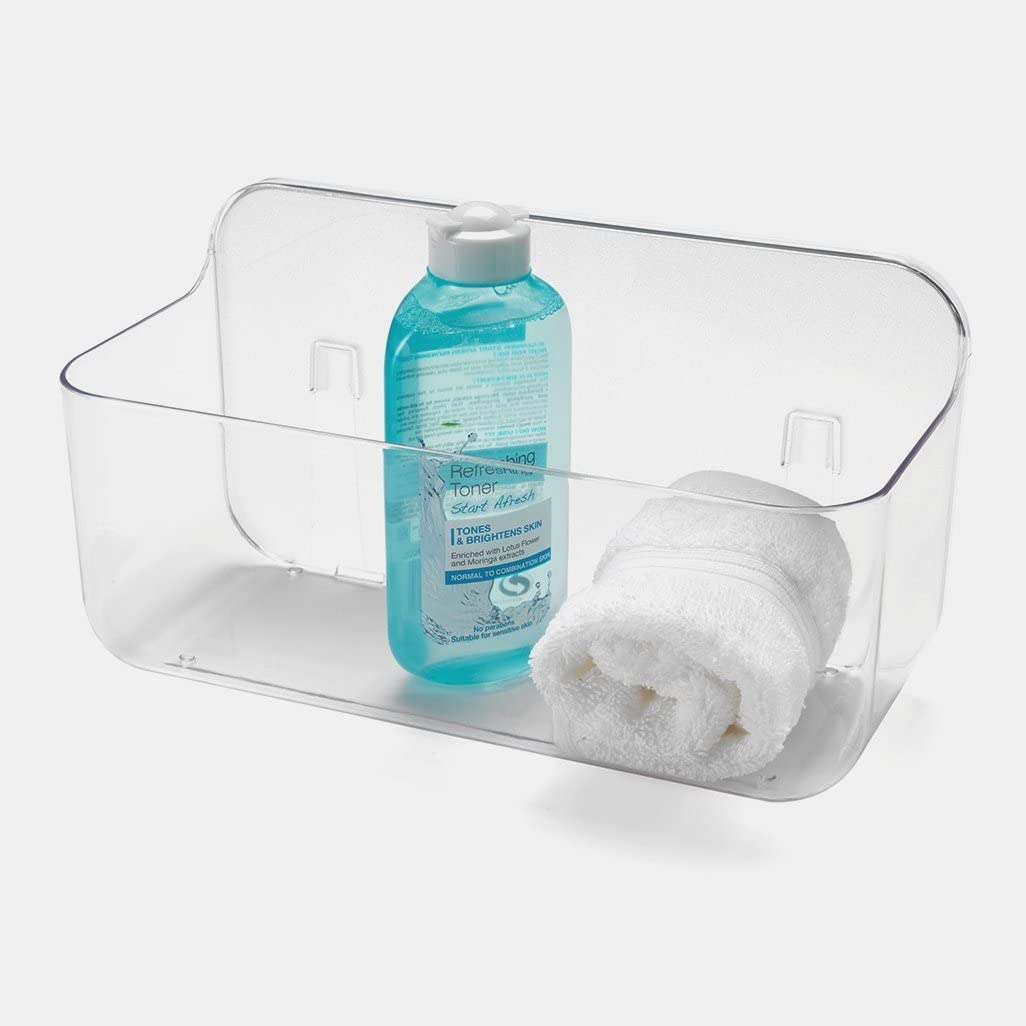 Addis Invisifix Bathroom Shower Storage Caddy Holder, Translucent, 13.5 x 28 x 15 cm