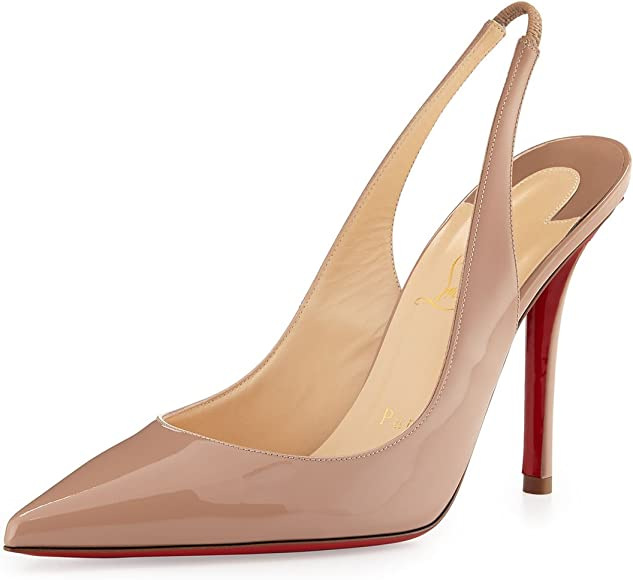 newest 7dd3e 3511a Christian Louboutin Apostrophy Sling 100 Patent Heels Pumps ...