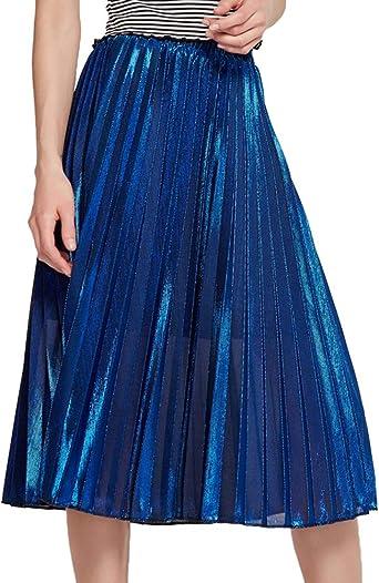 Shengwan Mujer Color Brillante Falda Plisada Cintura Alta Midi ...