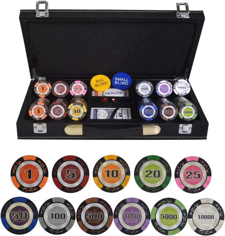 TX GIRL Texas Holdem Poker Chips Conjunto con PU-Piel/Caja/Maleta De Trigo Corona Ficha De Póker De La Arcilla Casino Poker Chips 200/300/400 / 500PCS / Set (Color : 400pcs Leather): Amazon.es: Hogar