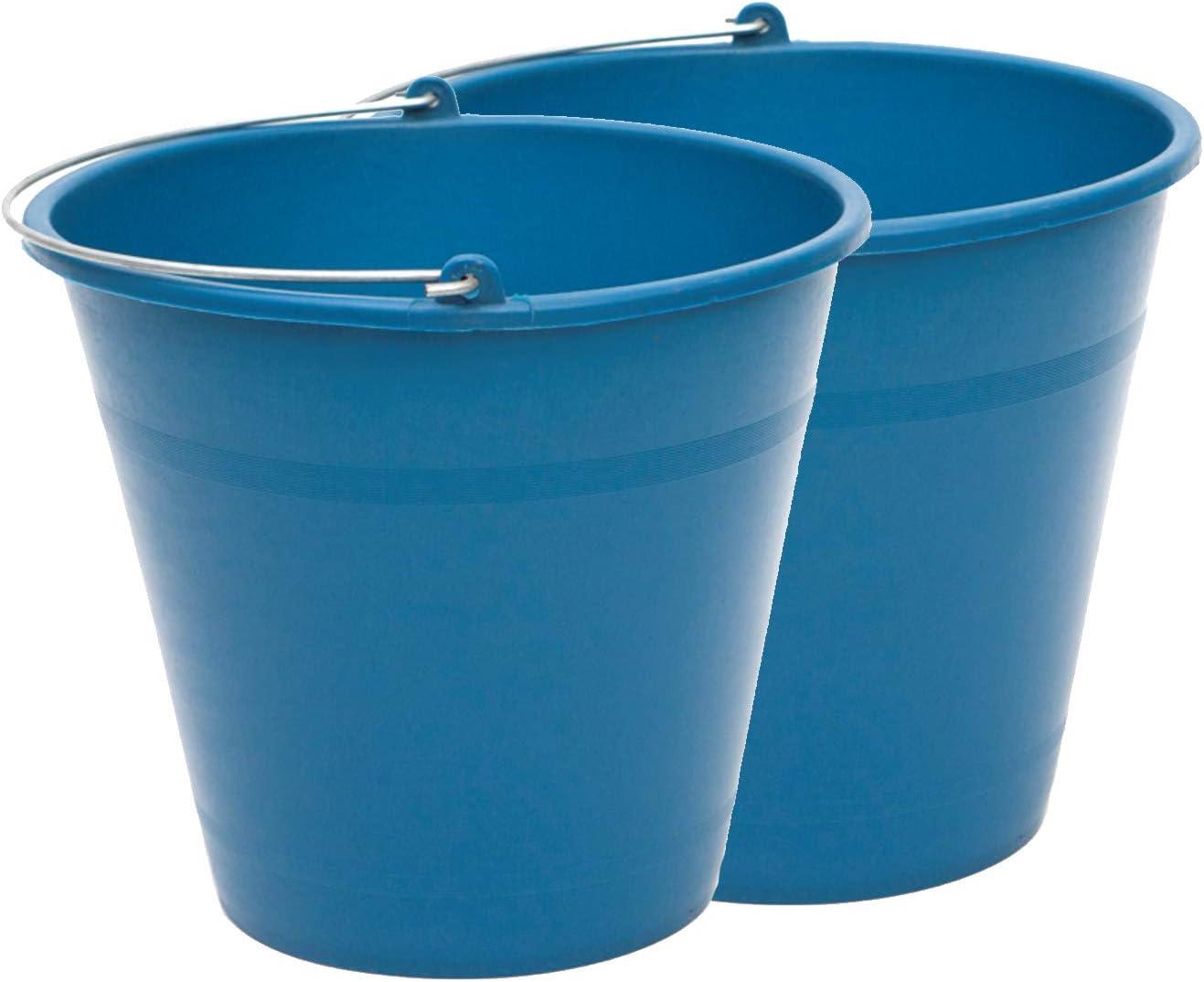 PACK de 2 cubos engomados de plástico reciclado (Azul) (8 litros)