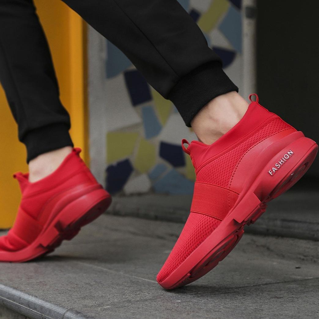 Beathable Engrener Sauvage Glisser sur D/écontract/ée Casual Chaussures de Filet Respirant L/éger Amortisseur QinMM Hommes Mode Baskets Chaussures de Sport