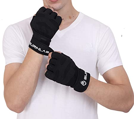 Burnlab Gym Gloves with Wrist Support (Black, X-Large)
