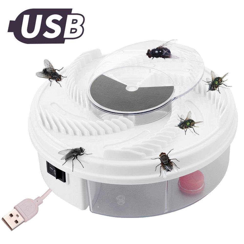 Umiwe Fly Trap Catcher, Automatic Electric USB Fly Housefly Trap Indoor with Trapping Food for Home Hotel Restaurant (Physical Non Toxic)