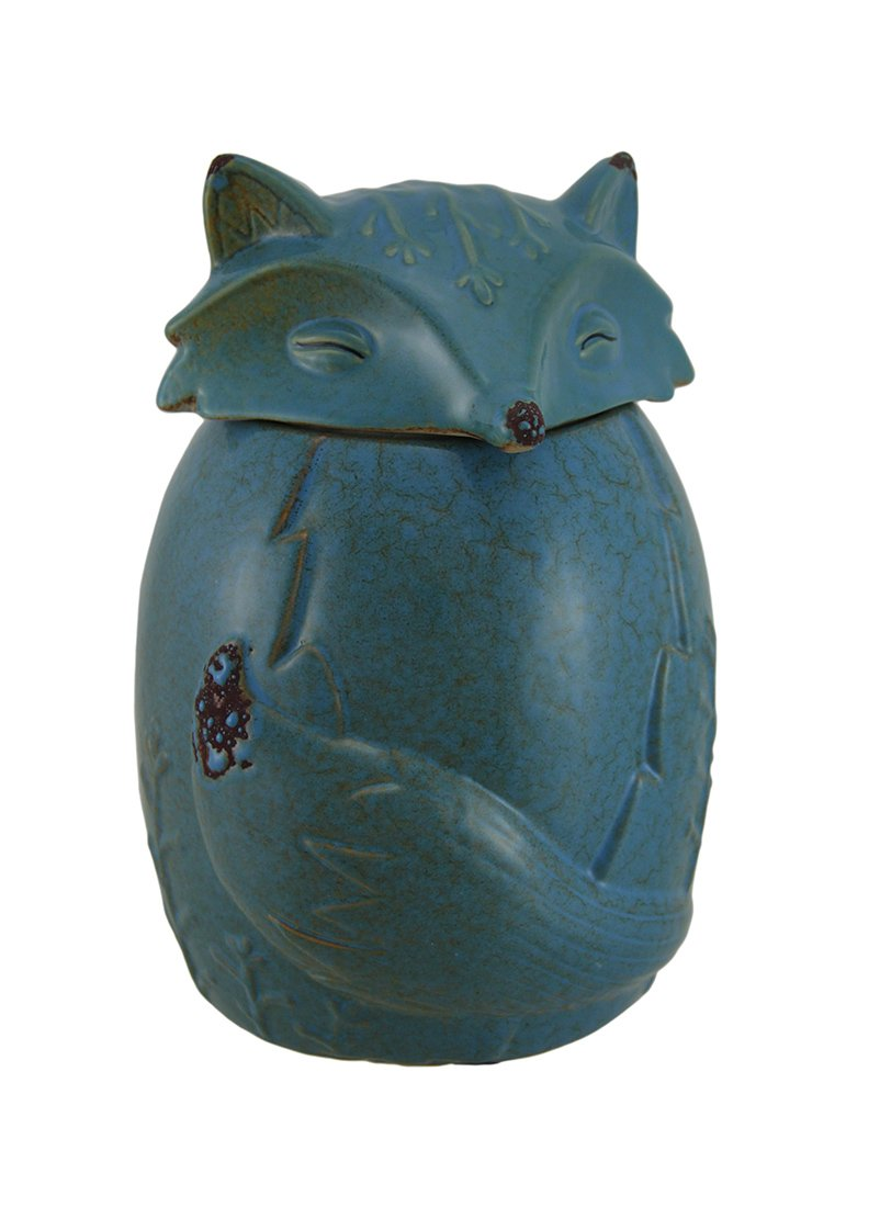Ceramic Cookie Jars Blue Ceramic Snow Fox Cookie/Treat Jar 5 X 7.5 X 5 Inches Blue