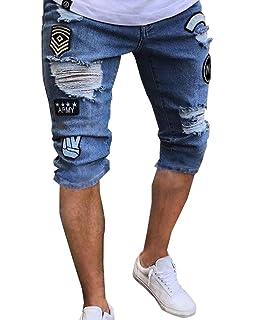 372711f38156 Mens Ripped Jeans Shorts Trousers Biker Denim Pants Slim Fit Destroyed Hip  Hop Jeans for Men