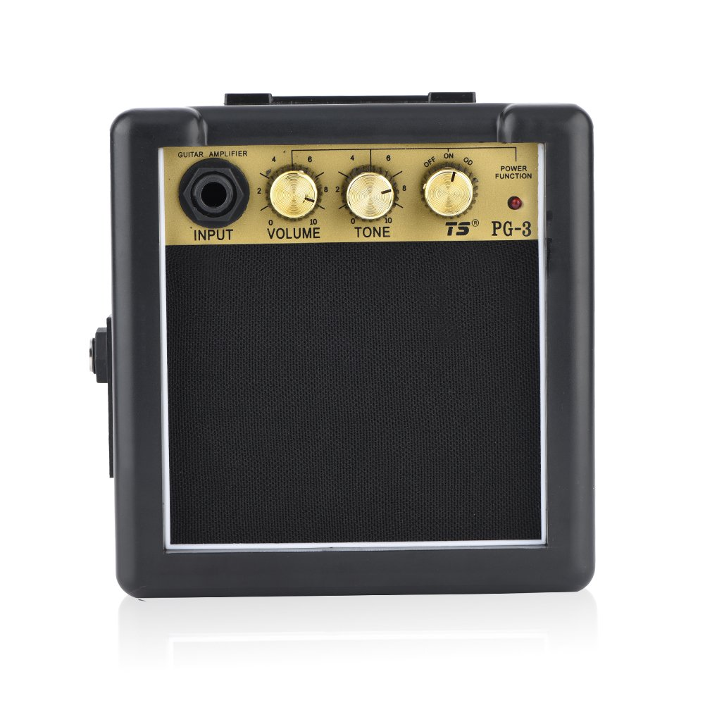 Dilwe Guitar Amplifier Speaker, High Sensitivity 3W Electric Guitar Amplifier Speaker Volume Tone Control Accessory