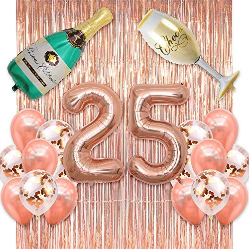 - BALONAR 40inch Jumbo Rose Gold 25 Number Balloons Backdrop Rose Gold Fringe Curtains Confetti Balloons Champagne Bottle and Flute Decoration for Birthday Party Anniversary Ceremony (25 Rose Gold)