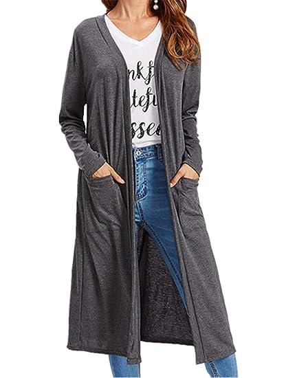 ZHRUI Señoras Espalda Dividida Chaqueta de Punto Chaqueta Rompevientos Abrigo Largo Abrigo túnica Traje Cruzado Doble