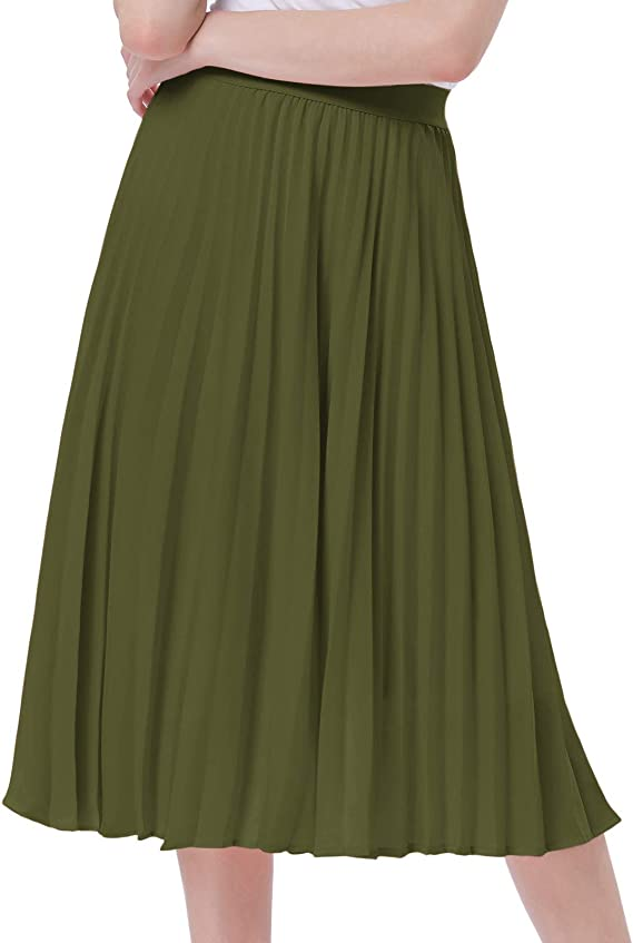 Casual Pleated Swing Skirt A-line Army Green Size XS KK659-6