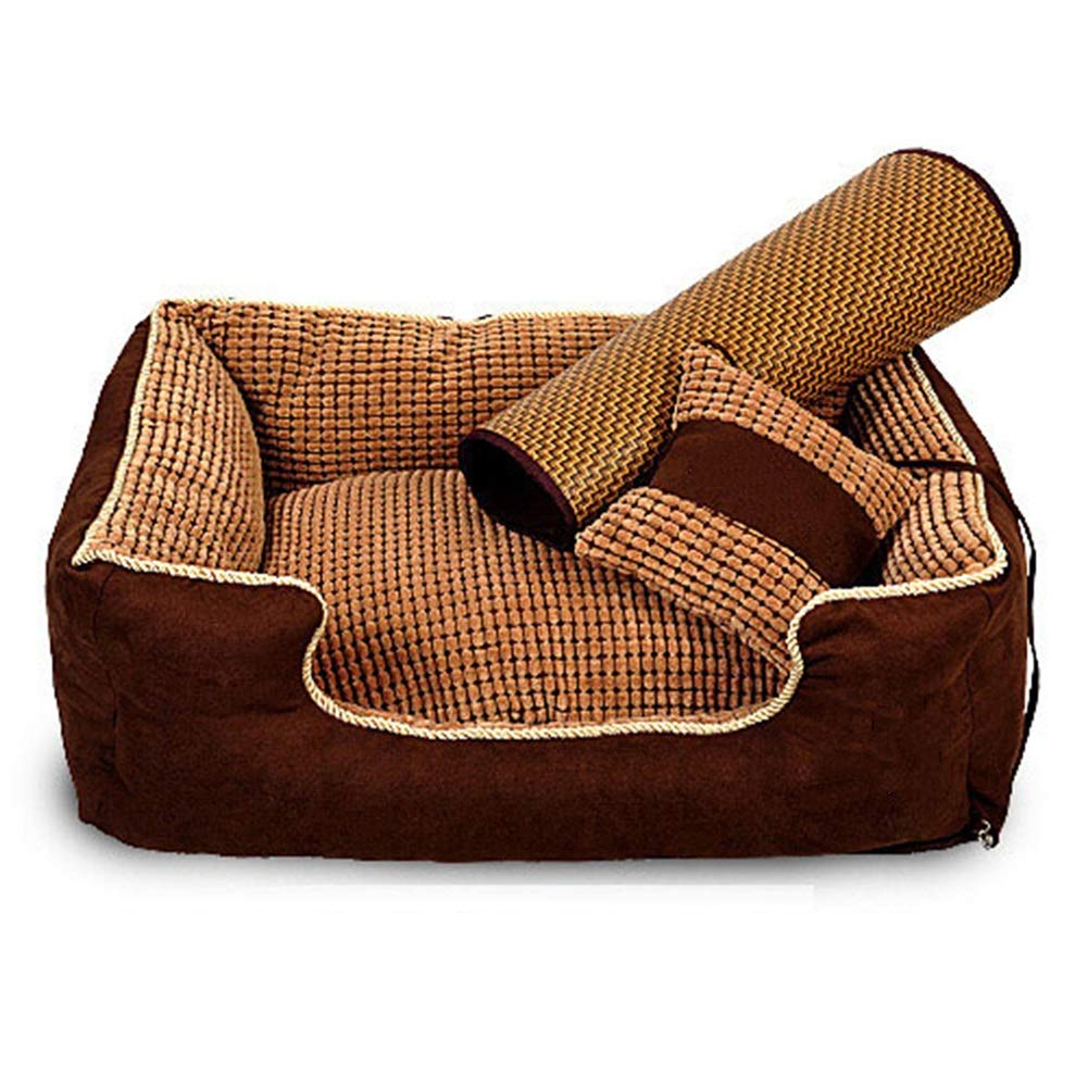 Brown M (75x62x25CM) Brown M (75x62x25CM) ZWYGXL Kennel Summer golden Retriever Dog Teddy Dog Medium-Sized Dog Large Small Dog Not Easy to Dirty Washable Pet Dog Bed Supplies Four Seasons Suitable (color   Brown, Size   M (75x62x25CM))
