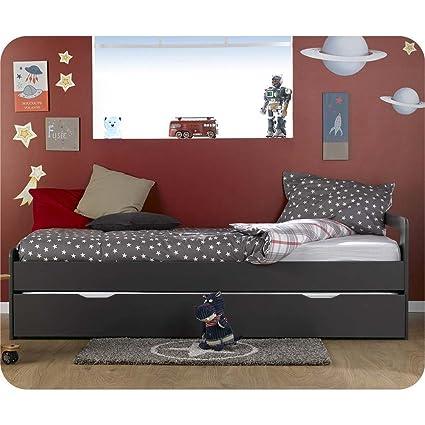 Pack cama niño Gigogne Eden gris antracita 90 x 200 cm con 2 colchones