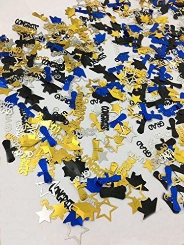 CONFETTI FOR GRADUATION PARTY SUPPLIES - 1.4 oz | Perfect Graduation Decoration for Grad Party | Graduation Confetti are of CONGRATS, GRAD, STAR, CAP, DIPLOMA | Gold, Black, Silver and Blue Mix Color