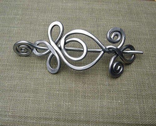 Celtic Loops and Spirals Aluminum Shawl Pin, Knitters Gift, Handmade in Oregon USA, Scarf Pin