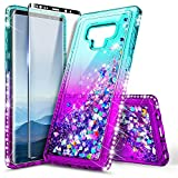 Galaxy Note 9 Case with Screen Protector (3D Pet Full Coverage) for Girls Women, NageBee Glitter Liquid Bling Floating Quicksand Waterfall Shockproof Cute Case for Samsung Galaxy Note 9 -Aqua/Purple