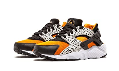 Nike Kid\u0027s Huarache Run Safari GS, WHITE/BLACK,CLAY ORANGE, Youth Size