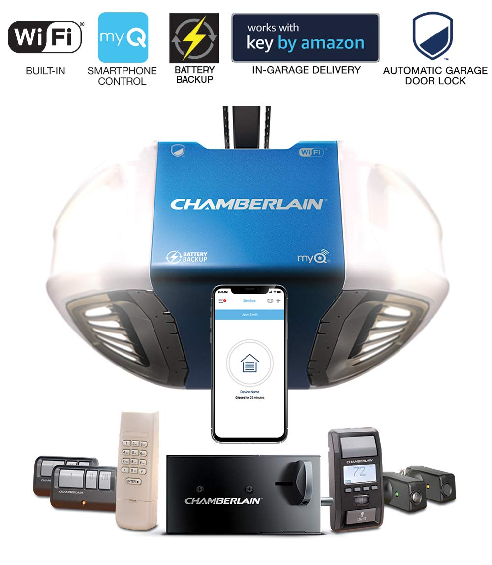 Chamberlain Group Chamberlain B980 Smartphone-Controlled Ultra-Quiet &  Strong Belt Drive Garage Door Opener Ultimate Security Bundle with Battery