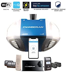 Chamberlain Group Chamberlain B980 Smartphone-Controlled Ultra-Quiet & Strong Belt Drive Garage Door Opener Ultimate Security Bundle with Battery Backup, Blue
