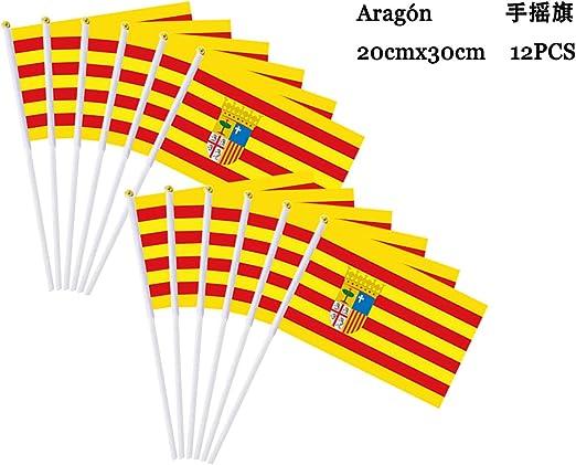 Durabol 12PCS Bandera de Mano de Aragón Comunidades autónomas de España (20X30CM) (Aragón): Amazon.es: Jardín