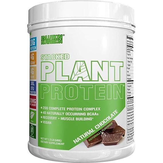 Stacked Plant Protein | Chocolate Natural | Vegano, Sin GMO ni Gluten | Probióticos, BCAAs, Fibra, Cerezo Ácido | Complejo Proteínico Completo a Base de ...