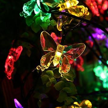 Salcar 5 Meter Solar LED Lichterkette 20 Bunten Schmetterlinge Deko  Beleuchtung Für Weihnachten, Party,