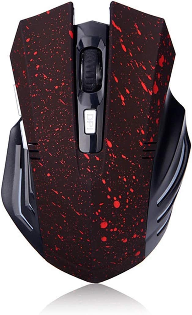 GUODLIN Cool Bluetooth Mouse Leopard Print Snowflake Arrogant Rechargeable Game Mouse Color : Snowflake red