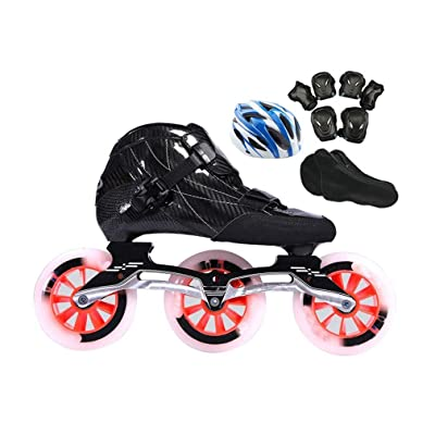 Sljj Adult Professional Black Racing Skates, 3X110MM Wheels Carbon Fiber Professional Inline Speed Skates for Women Red (Color : Black, Size : 41 EU): Home & Kitchen